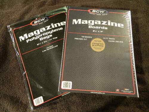 100 New BCW Magazine Bags And Boards - Acid Free - Archival Magazine Storage