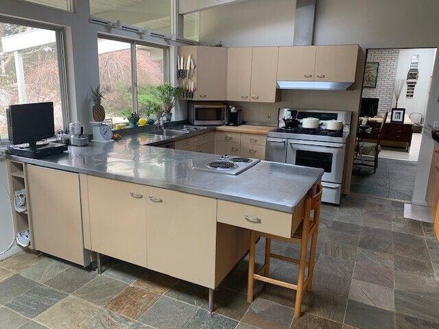 Mid Century 1958 St. Charles Full Kitchen, Stainless Steel Countertops