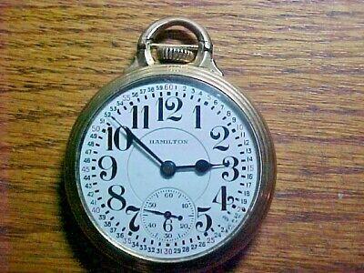 Hamilton 10K Gold Filled 16S 21J 992E Elinvar Open Face Leverset Pocket Watch