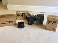 Nikon F65 SLR Camera with multiple lens in original boxes!