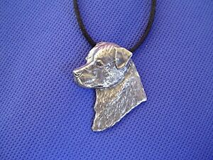 Rottweiler necklace HEAD STUDY #41B pewter dog jewelry by Cindy A. Conter