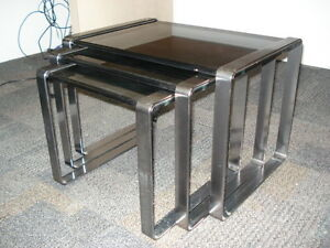 Nest of Tables, Chrome & Glass