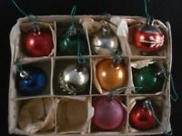Vintage Glass Christmas Tree Baubles Decorations Frosted Plain Box Of 10
