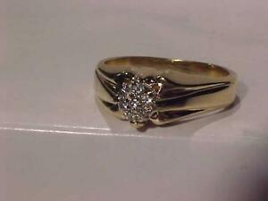#3057-14K YELLOW GOLD MAN`S RING 7 DIAMONDS-SIZE 11 3/4