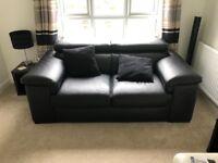 2/3 Seater Black Leather Sofa