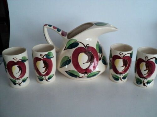 Purinton Pottery Fruit Apple  Water Set 5-pc Pitcher and 4 Tumblers