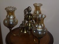Brass Chandelier with 3 etched glass shades