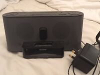 Sony clock radio and Apple docking station with remote control