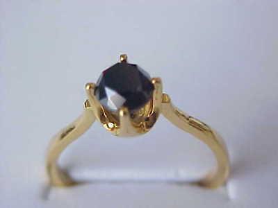 90Ct Genuine Jet Black Diamond Ring Solid 18Kt Yellow Gold