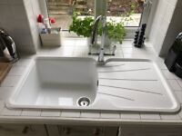 Astracast Rok Korona White Kitchen Sink with Swan Neck Tap and Traditional Handles