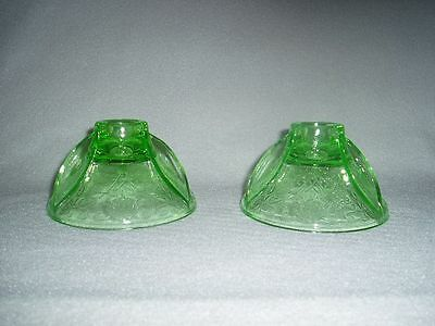Green FLORENTINE 2 Hazel Atlas Depression Glass CANDLESTICKS Free U.S. Shipping
