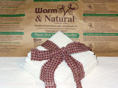 50 5 inch Warm and Natural Quilt Batting Squares Rag Quilting