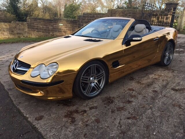Mercedes Sl500 Convertible Amg Spec Gold Car Vivid Pro Gold Chrome Wrap Part Ex Considered In