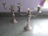 2 x Silver plated candelabra holds 3 candles each or can be made in to one to hold 6