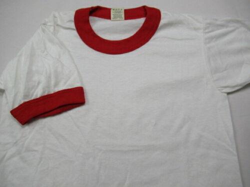 VINTAGE 80s Screen Stars Ringer T Shirt Plain Blank White 50/50 USA YOUTH MEDIUM