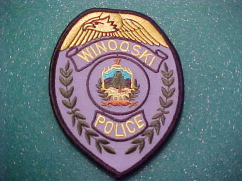 WINOOSKI VERMONT POLICE PATCH  SHOULDER SIZE UNUSED 4 1/2 X 3 1/4