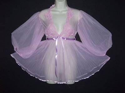 VTG ADORABLE ORCHID PINK PLEATED CHIFFON & LACE POOF SWEEP BABYDOLL NIGHTGOWN S
