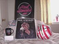 vip Rod Stewart football and poster, both full signature