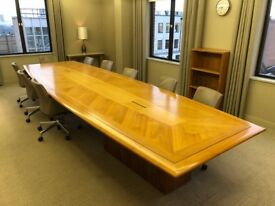 Boardroom meeting table - 4.9m long, boat shape top