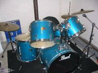 Peal Export Drum Kit /w double pedal, cymbals, sticks, bag etc