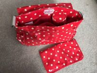 Cath Kidston Red Spotty Changing bag with padded mat and bottle holder