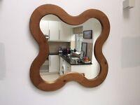 REDUCED - Organic-shaped large pine wood mirror