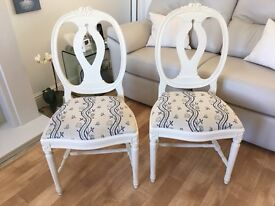 Two upholstered dining/bedroom chairs in good condition