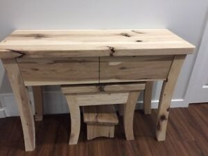 Solid hickory wood vanity table or end table