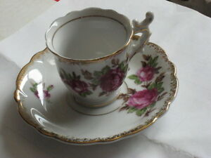 Fancy Demitasse Cup and Saucer with Red Roses