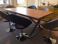 Walnut dining table with 6 retro circles dining chairs - Purchased Feb 2016 - Excellent condition
