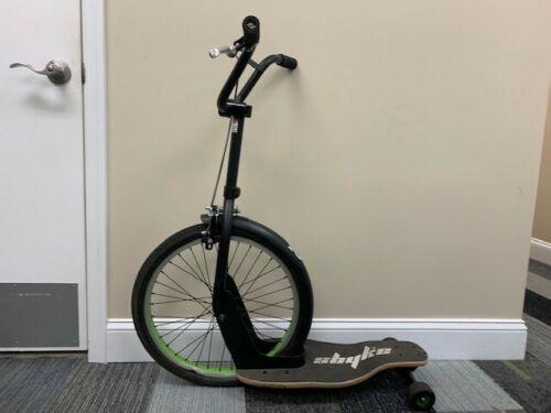 Sbyke Skateboard Bike Scooter Black Lime Green FOR REPAIR OR PARTS