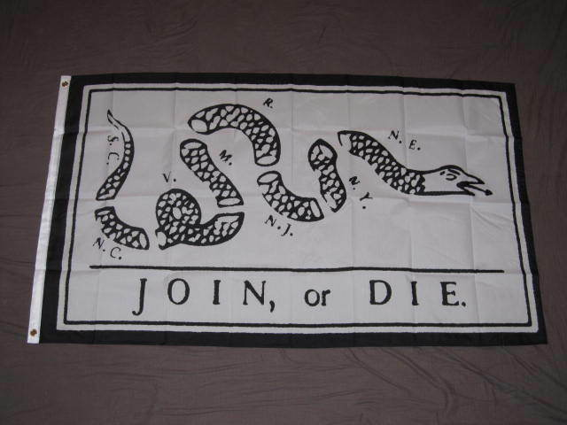 JOIN OR DIE FLAG 3x5 AMERICAN BENJAMIN FRANKLIN F876