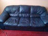 Leather Sofa / settee / couch and 2 armchairs, 3 piece suite