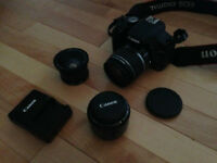 Canon Rebel T1i (18-55mm, 50mm, fisheye attachment, two battery)