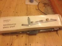 Glass shelf still in box, ideal for bathroom, about 40ish cm long