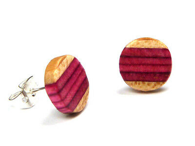 RECYCLED SKATEBOARD Wooden HANDMADE Studs Earrings Colourful Stripe Wood Stud