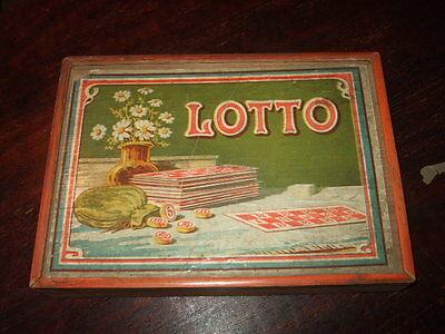 Lotto,altes Gesellschaftsspiel im Holzkasten,ca.1930,Antikspielzeug,Speicherfund