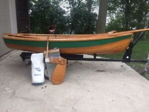 A Vintage Cedar Wood Sailboat