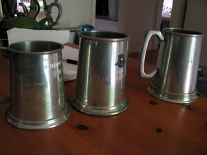 3 Vintage collectible pewter mugs - one is BIRKS