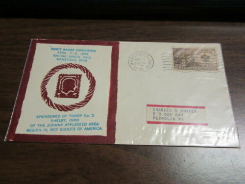 Johnny Appleseed Area Council 1956 Merit Badge Expo Red Cachet & Cancel   c85
