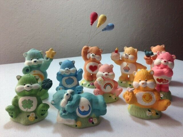 Collectible Set of 10 Ceramic Care Bears, Designers Collection From 1980s