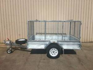 8X5 COMMERCIAL GALVANISED SINGLE AXLE TRAILER WITH CAGE BRAKES  RAMPS Pooraka Salisbury Area Preview