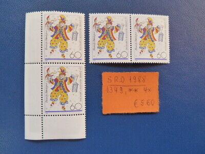 BRD 1988 150 JAHRE MAINZER KARNEVAL MICHEL 1349 4 X