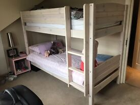 Wooden Grey Solid Wood Bunk Bed Frame 2X Single Beds for 90CMx190CM Mattress