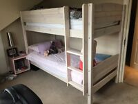 Wooden Grey Solid Wood Bunk Bed Frame 2X Single Beds for 90CMx190CM Mattress (NOT included)