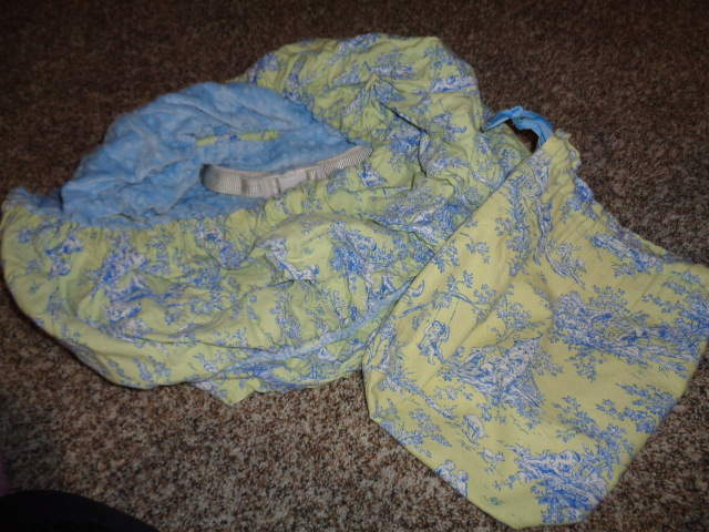 BOUTIQUE TOILE SHOPPING CART COVER W CARRY BAG REVERSIBLE BLUE GREEN CHENILLE