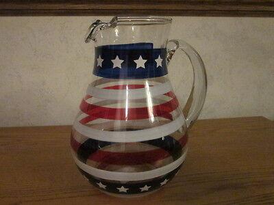 Pier 1 Stars Stripes 4th Fourth of July Sangria Lemonade Juice Glass Pitcher NWT