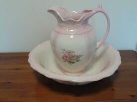 Vintage Wash Bowl and Jug Staffordshire Pottery