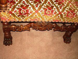 gothic DEVIL & LION PAW FEET carved walnut chair PARLOUR THRONE Kitchener / Waterloo Kitchener Area image 10