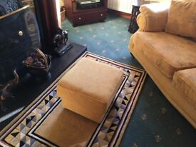 3 Seater suite - colour gold - complete with footstool and cushions - as new -Tel:07715476302